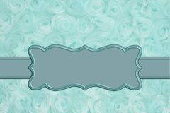 Pale teal rose plush fabric with ribbon background. Pale teal rose plush fabric background with ribbon to provide copy-space for your message royalty free stock images