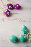 Pale turquoise and Pink Decorated Easter eggs Stock Images