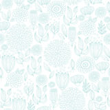 Pale turquoise seamless floral pattern Stock Photography