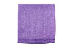 Pale violet folded textile napkin on white stock images