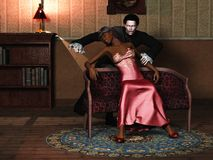 Pale white vampire feeds on black female victim. Elegant African victim with bruised neck and bleeding wounds in faint with snarling pale male vampire in period Stock Photo