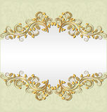 Pale yellow background. With golden ornaments and copy space Royalty Free Stock Image