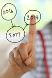 palec kobiety dotykać liczbę 2018 Fotografia Stock