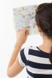 Palec na mapie Zdjęcia Stock