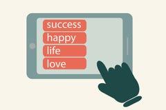 Palec ręki wybiórki prasa guzik na smartphone Zdjęcia Stock