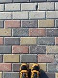 palec u nogi buty na bruku od above Fotografia Stock