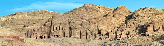 Paleis en Corinthisch graf, Petra Jordanië Stock Foto's