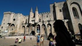 Paleis van de Pausen van Avignon in 4k stock footage