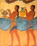 Paleis van Knossos-Fresko in Kreta, Griekenland royalty-vrije stock foto