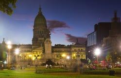 Paleis van Nationaal Congres in avond Royalty-vrije Stock Afbeeldingen