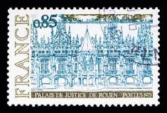 Paleis van Rechtvaardigheid van Rouen, Toerisme serie, circa 1975 Stock Foto