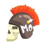 Palella in casco con Mohawk, nell'autoadesivo variopinto con la guerra e nell'icona di vettore di attributi della cultura del mot Fotografia Stock