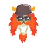 Palella in casco cornuto con la barba rossa, nell'autoadesivo variopinto con la guerra e nell'icona di vettore di attributi della Fotografie Stock