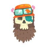 Palella di Beardy in casco arancio con le tonalità, nell'autoadesivo variopinto con la guerra e nell'icona di vettore di attribut Fotografia Stock