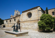 Palencia, Castile and Leon, Spain. Statue of Capuchin monks by the Convent of San Pablo in Palencia, Castile and Leon, northwest Spain stock images