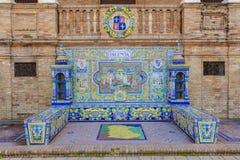 Palencia Provincie, Verglaasde tegelsbank bij het Vierkant van Spanje, Sevilla royalty-vrije stock fotografie