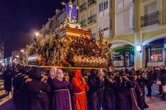 Traditional Spanish Holy Week procession in Palencia. PALENCIA, SPAIN - MARCH 25, 2016: Traditional Spanish Holy Week procession on Holy Thursday night in the stock images