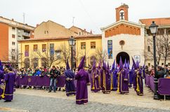 Traditional Spanish Holy Week procession in Palencia. PALENCIA, SPAIN - MARCH 25, 2016: Traditional Spanish Holy Week Semana Santa procession on Holy Friday in royalty free stock photos