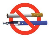 Palenie zabronione żadny vaping szyldowy zakazu papieros i elektroniczny papieros ilustracji