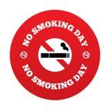 Palenie zabronione dnia znak. Skwitowany dymienie dnia symbol. Fotografia Stock