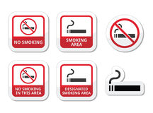 Palenie zabronione, dymienie terenu ikony ustawiać Fotografia Royalty Free