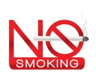 Palenie zabronione szyldowa etykietka z realistycznym białym papierosem z dymem ilustracji