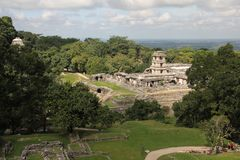 Palenque ancient Maya site, Mexico. Palenque, also anciently known as Lakamha, was a Maya city state in southern Mexico that flourished in the 7th century. The royalty free stock image