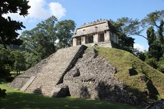 Palenque ancient Maya site, Mexico. Palenque, also anciently known as Lakamha, was a Maya city state in southern Mexico that flourished in the 7th century. The stock photo