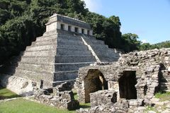 Palenque ancient Maya site, Mexico. Palenque, also anciently known as Lakamha, was a Maya city state in southern Mexico that flourished in the 7th century. The stock images