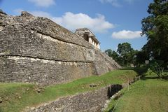 Palenque ancient Maya site, Mexico. Palenque, also anciently known as Lakamha, was a Maya city state in southern Mexico that flourished in the 7th century. The royalty free stock photos