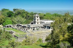 Palenque Ancient Mayan tower the palace temples Stock Photo