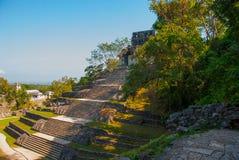 Palenque, Chiapas, Mexico: Archeologisch gebied met ruïnes, tempels en piramides in de oude stad van Maya royalty-vrije stock afbeelding