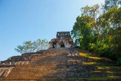 Palenque, Chiapas, Mexico: Archeologisch gebied met ruïnes, tempels en piramides in de oude stad van Maya royalty-vrije stock foto's