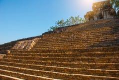 Palenque, Chiapas, Mexico: Archeologisch gebied met ruïnes, tempels en piramides in de oude stad van Maya royalty-vrije stock foto