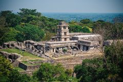 Palenque Maya Ruins in Yucatan Mexico surrounded by rainforest stock photo