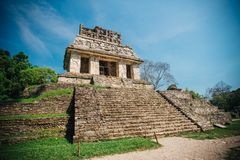 Palenque Maya Ruins in Yucatan Mexico surrounded by rainforest royalty free stock image