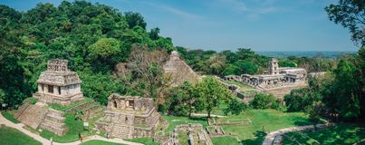 Palenque Maya Ruins in Yucatan Mexico surrounded by rainforest stock image