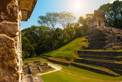 Palenque, Chiapas, Mexico: Huge ancient pyramid with steps in the archaeological complex. PALENQUE, MEXICO: Huge ancient pyramid with steps in the Royalty Free Stock Photo