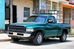Dodge Ram. Palenque, Mexico - May 23, 2017: Green pickup truck Dodge Ram in the city street stock photography