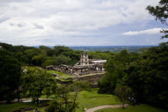 Palenque, Mexico. Panorama of the Mayan ruins of Palenque, Chiapas, Mexico Royalty Free Stock Images
