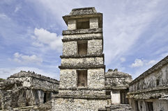 Palenque - observatory. Mayan ruins of palenque, chiapas, mexico - the tower is part of the palacebuilding, and was used as observatory Royalty Free Stock Photo