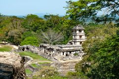 Palenque ruins, ancient maya city in jungle of Mexico stock photography
