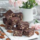 Paleo巧克力强身糕用燕麦片、山核桃果、日期、chia种子和椰子剥落,正方形 免版税库存照片