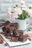 Paleo巧克力强身糕用燕麦片、山核桃果、日期、chia种子和椰子剥落 免版税库存图片