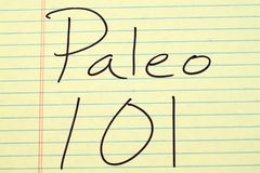 Paleo 101 σε ένα κίτρινο νομικό μαξιλάρι Στοκ φωτογραφία με δικαίωμα ελεύθερης χρήσης