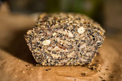 Paleo bread. Gluten free, fitness friendly, paleo bread with seeds and nuts Stock Photography