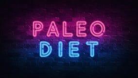 Paleo-Di?tkonzept Purpur und blaues Neon-SCHILD auf einer dunklen Backsteinmauer Abbildung 3D stock abbildung