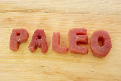 Paleo diet. Paleo letters cut from meat. Paleo diet Stock Images
