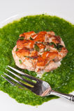 Paleo diet- Organic chili and mint salmon fish cake with broccoli puree. On a round, white plate with a for sitting in puree Stock Photo