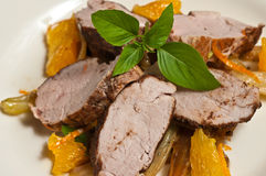 Paleo diet-Organic slices of five spice pork with orange clumps, fennel and mint Royalty Free Stock Photos